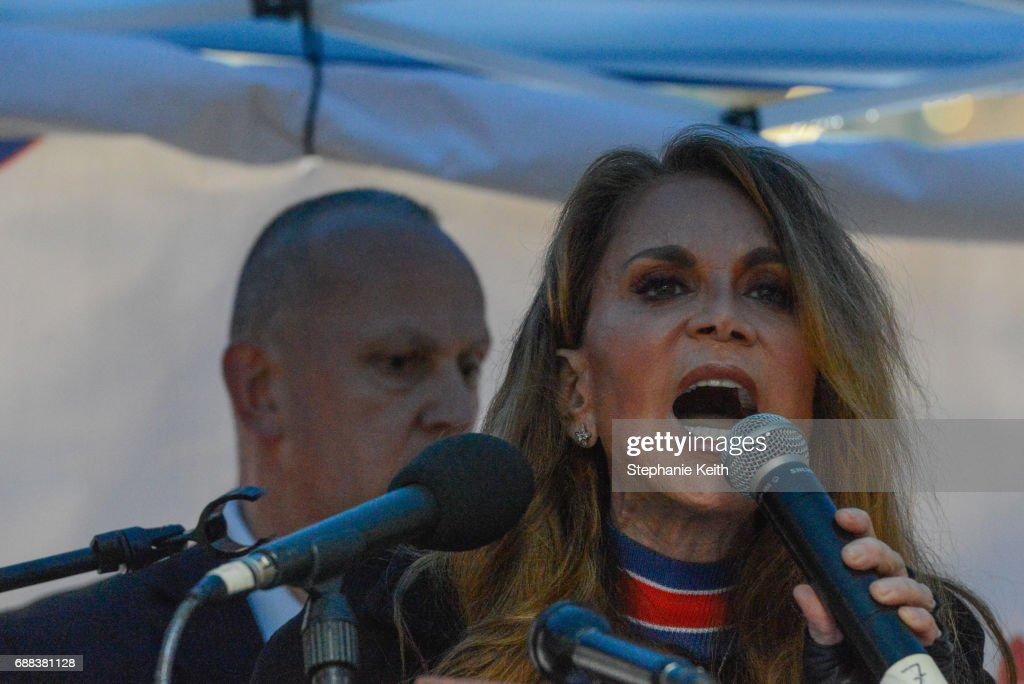 Activist Pamela Geller speaks at an Alt Right protest of Muslim activist Linda Sarsour on April 25, 2017 in New York City.