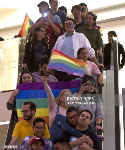 Activist protest in the Galerias Monterrey Mall on March 1 in Monterrey, Mexico. - A group of 120 couples from the LGBT community organized a...