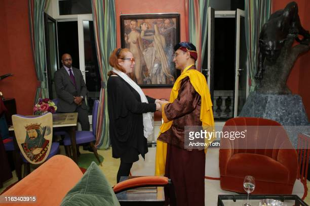 Activist Rachel Hirschfeld and his holiness the Gyalwang Drukpa attend a reception at Ghislaine Maxwell's residence after StarTalk Live Water World...