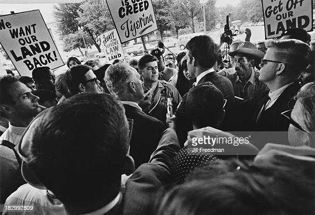 American civil rights activist farm worker and labor leader Cesar Chavez at the 'Solidarity Day' rally during the Poor People's Campaign an organised...