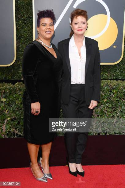 Activist Rosa Clemente and actor Susan Sarandon attend The 75th Annual Golden Globe Awards at The Beverly Hilton Hotel on January 7 2018 in Beverly...