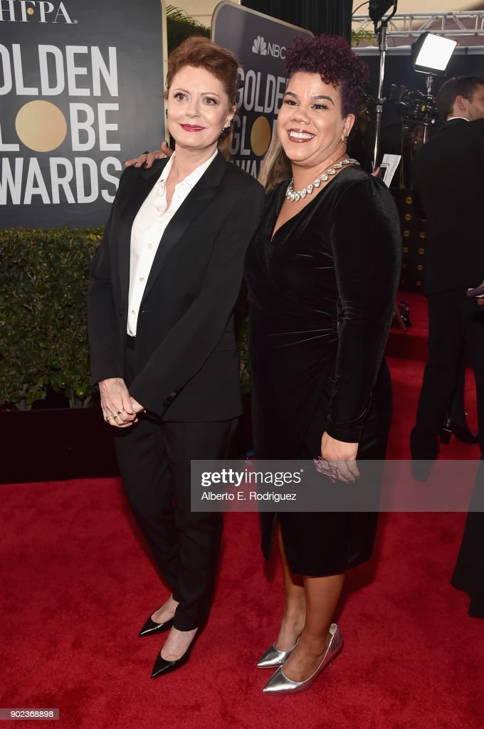 Activist Rosa Clemente and Susan Sarandon (L) attend The 75th Annual Golden Globe Awards at The Beverly Hilton Hotel on January 7, 2018 in Beverly Hills, California.