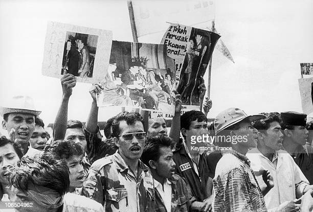 Activist Students Holding A Protest Action To Claim The Resignation Of President Sukarno In Jakarta In October 1966