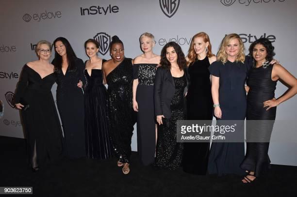 Activist Tarana Burke actors Michelle Williams America Ferrera Jessica Chastain Amy Poehler Meryl Streep Natalie Portman activists Aijen Poo and Saru...