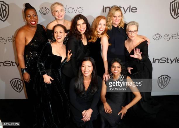 Activist Tarana Burke actors Natalie Portman Michelle Williams America Ferrera Jessica Chastain Amy Poehler Meryl Streep activists Aijen Poo and Saru...