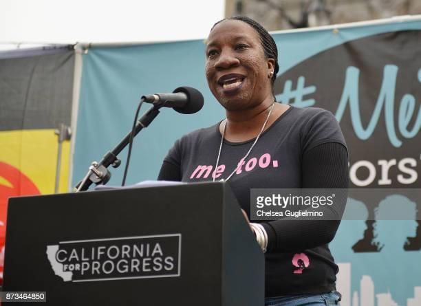 Activist Tarana Burke speaks at the #MeToo Survivors March Rally on November 12 2017 in Hollywood California