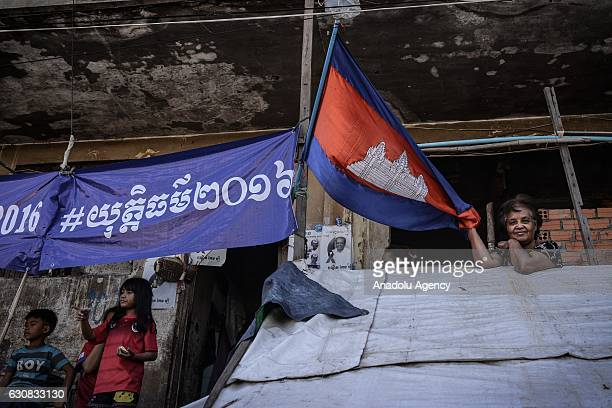 Activist Tim Sakmony is seen during a protest at the Borei Keila site in Phnom Penh Cambodia on January 3 2017 Families were evicted from Borei Keila...