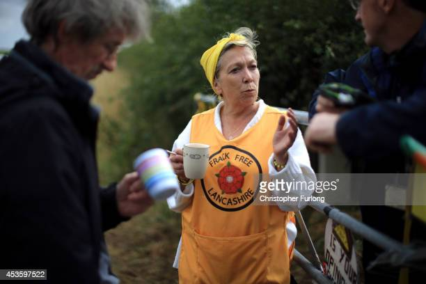 Activist Tina Louise Rothery of protest group Frack Free Lancashire waits for the arrival of supporters at an antifracking camp near the site of a...