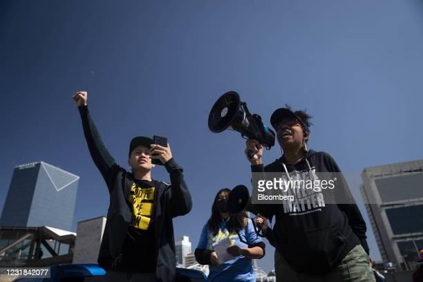 Activist William Lex Ham, left, and Wanda Mosley, Senior Coordinator in Georgia at Black Voters Matter, speak at a Stop AAPI Hate Rally in Atlanta,...