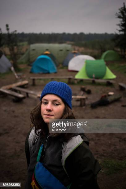 Activist woman stands in centre of the Camp quotCamp for Forestquot Pogorzelce near Bialowieza on September 21 2017