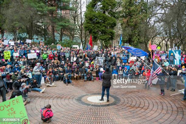 Activists address the crowd at the gathering point at Portland's National March for Impeachment on January 20 in downtown Portland OR