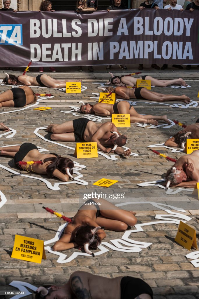 Animal Rights Protest In Pamplona : News Photo