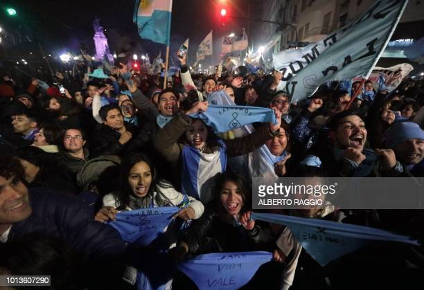 Activists against the legalization of abortion celebrate outside the National Congress in Buenos Aires on August 9 2018 after senators rejected the...