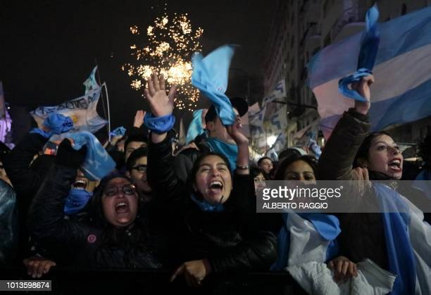 Activists against the legalization of abortion demonstrate outside the National Congress in Buenos Aires on August 09 2018 Argentine lawmakers geared...