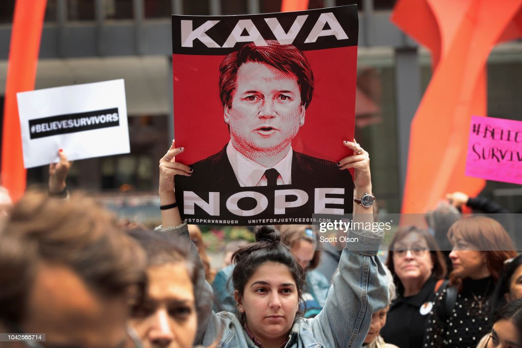 Activists Demonstrate Against Supreme Court Nominee Brett Kavanaugh In Chicago : News Photo