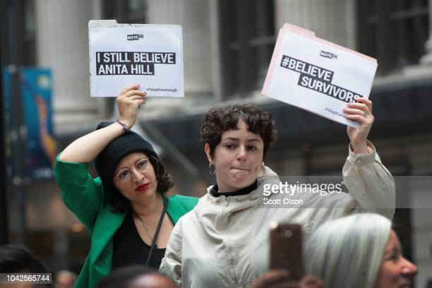 Activists and advocates for survivors of sexual abuse gather in the Federal Building Plaza to protest the confirmation of Supreme Court nominee Brett...