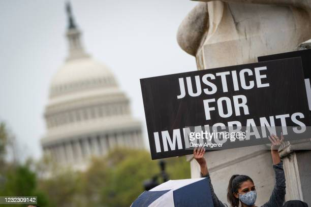 Activists and citizens with temporary protected status rally near Capitol Hill calling for Congress to pass the Safe Environment from Countries Under...