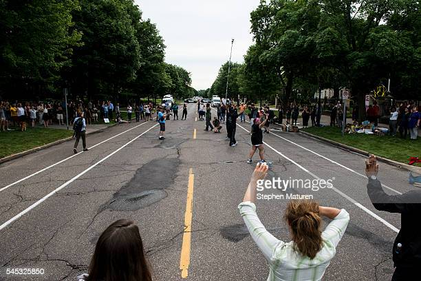 Activists and community members protest the killing of Philando Castile outside the Governor's Mansion on July 7 2016 in St Paul Minnesota Castile...
