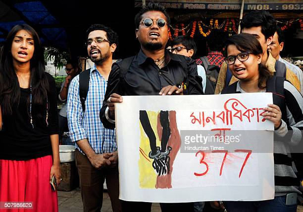 LGBT activists and community members stage a demonstration as the Supreme Court referred a curative petition challenging Section 377 of the Indian...