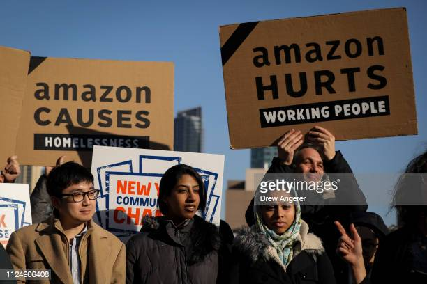 Activists and community members who opposed Amazon's plan to move into Queens rally in celebration of Amazon's decision to pull out of the deal in...