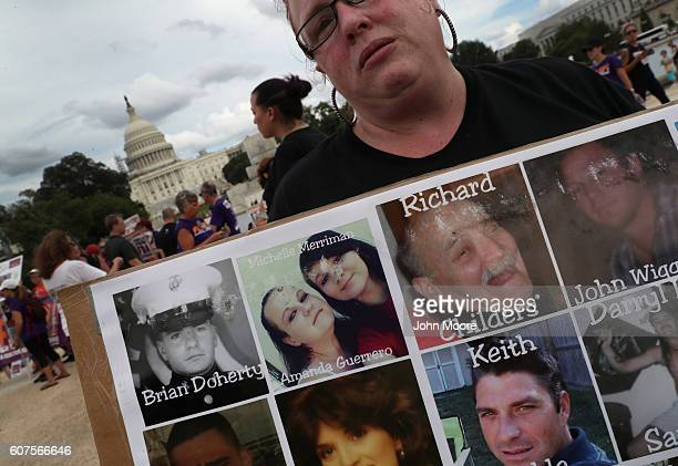 Activists and family members of loved ones who died in the opioid/heroin epidemic take part in a Fed Up rally at Capitol Hill on September 18 2016 in...