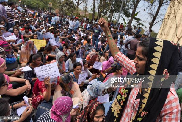 NSUI activists and members joined the protest in support to protesting students about SSC scam at Staff Selection Commission CGO complex on March 16...