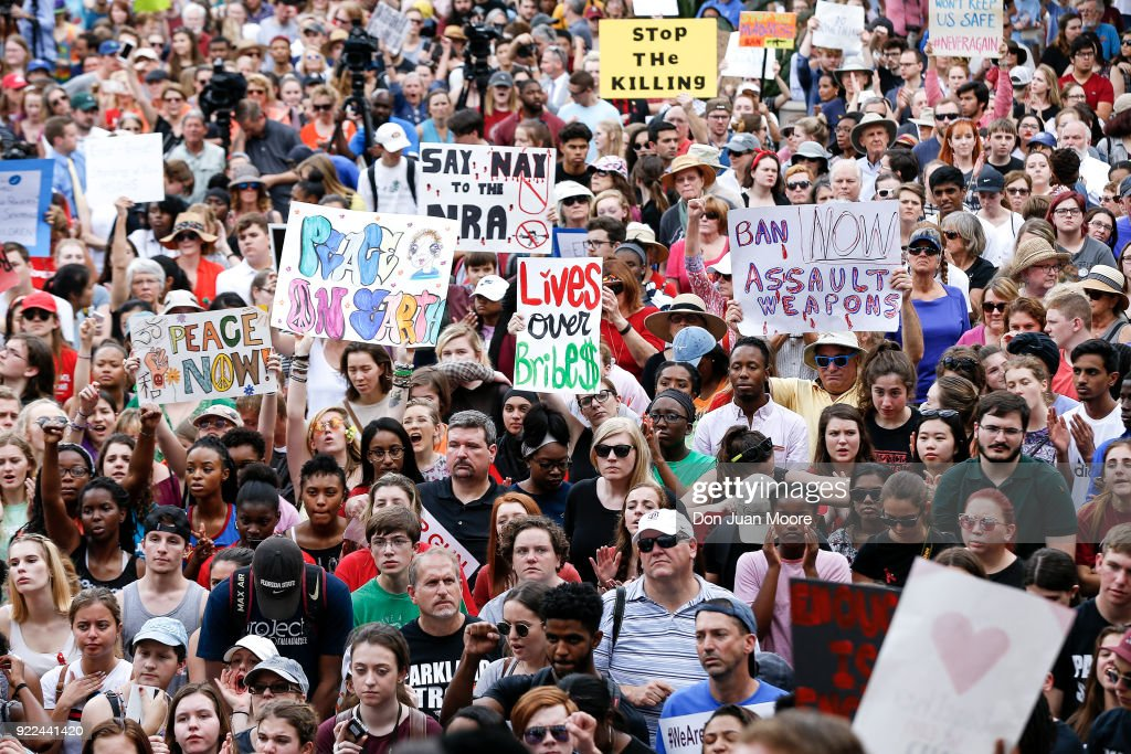 Activists and students from Marjory Stoneman Douglas High School attend a rally at the Florida State Capitol building to address gun control on February 21, 2018 in Tallahassee, Florida. In the wake of last week's deadly mass shooting that left 17 people dead, thousands of supporters joined the Parkland students to call for gun reform.