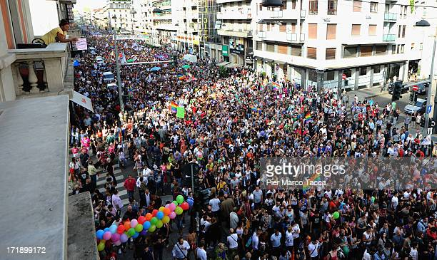 Activists and supporters of gay rights march down Corso Buenos Aires during the annual Gay Pride parade on June 29, 2013 in Milan, Italy. The parade...