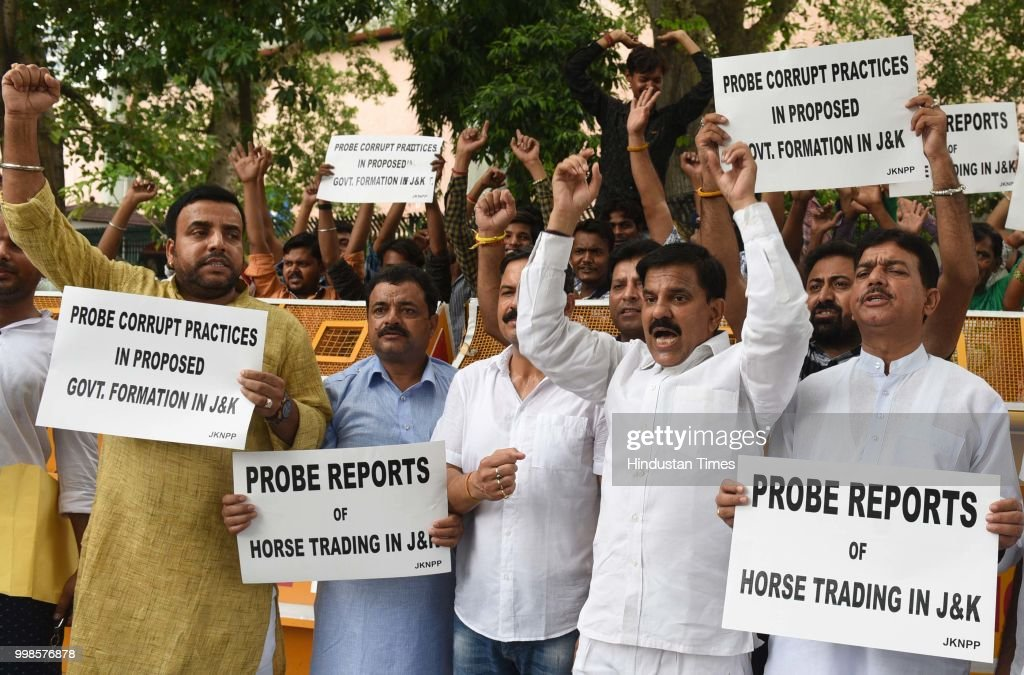 Jammu And Kashmir National Panthers Party Activists And Supporters Protest At Parliament Street