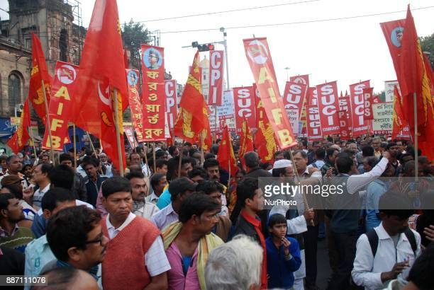 Activists and supporters of Left Front take part in a rally on the occasion of 25th anniversary of the demolition of Babri Masjid in Kolkata India on...