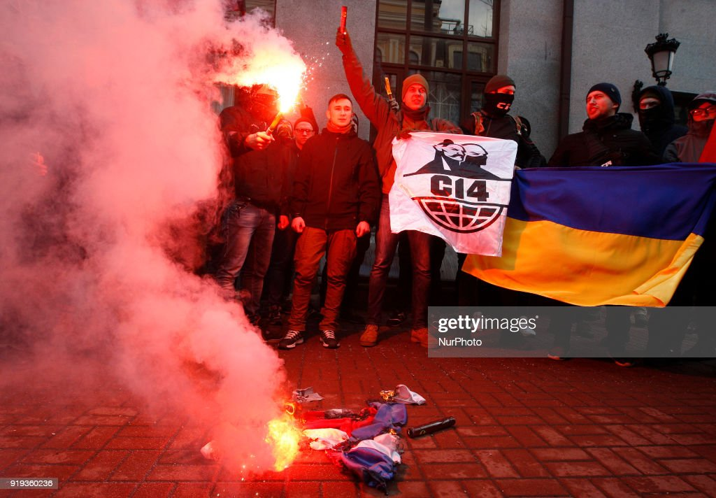 Ukrainian nationalists protest against Russian agression