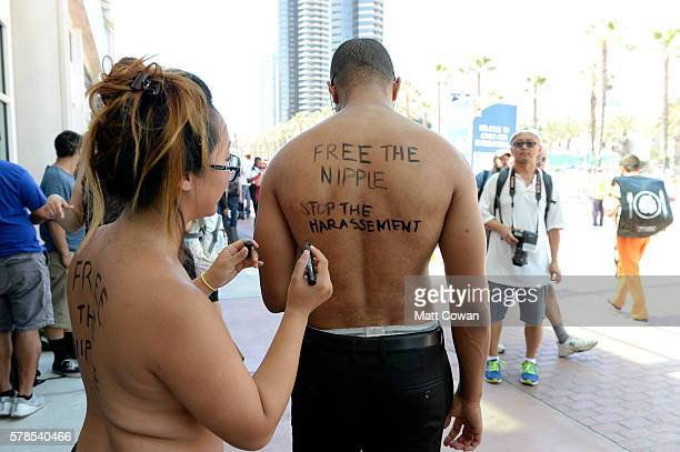 Activists Anni Ma and Michael Brown attend ComicCon International on July 21 2016 in San Diego California