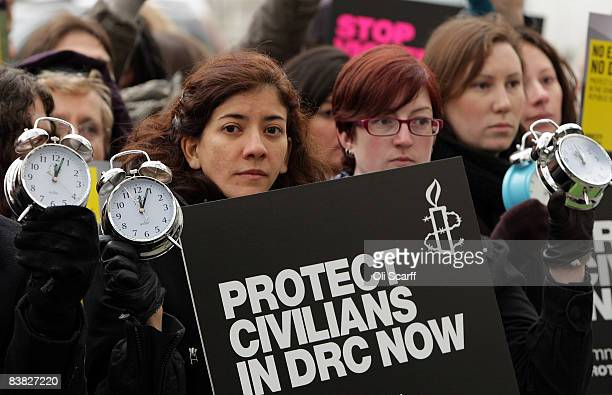 Activists appeal to the Government to take more action to prevent further killings in the Democratic Republic of Congo on November 26 2008 in London...