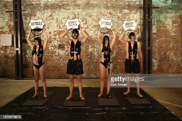 Activists are seen at Carriageworks on May 31, 2021 in Sydney, Australia. The activists held the protest outside Australian Fashion Week.