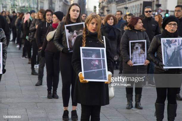 Activists are seen holding photos of different animals that have suffered cruelty and violence on the farms during the performance Hundreds of people...