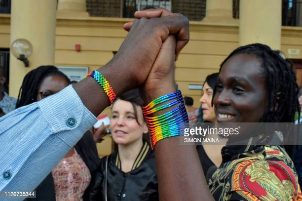 LGBT activists arrive to attend a court hearing in the Milimani high Court in Nairobi on February 22 2019 Kenya's High Court on February 22 postponed...