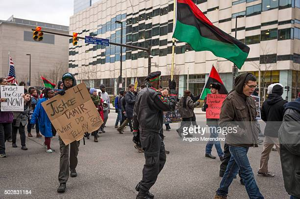 Activists block traffic on St Clair and E 6th St on December 29 2015 in Cleveland Ohio Protestors took to the street the day after a grand jury...