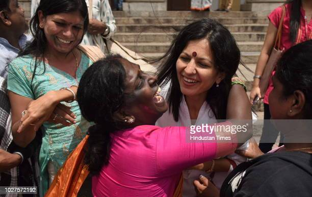 LGBT activists celebrate after the verdict by the Supreme Court of India which stuck down on the Britishera section 377 of the penal code that...