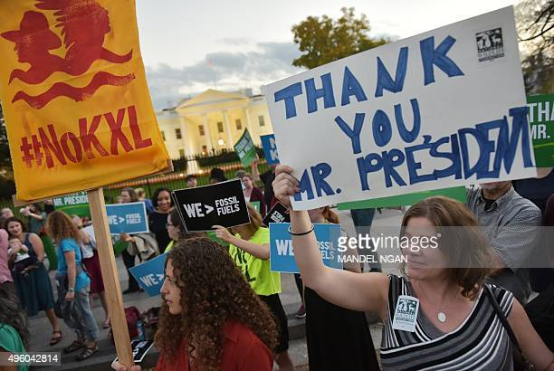 Activists celebrating US President Barack Obama's blocking of the Keystone XL oil pipeline rally in front of the White House in Washington DC on...