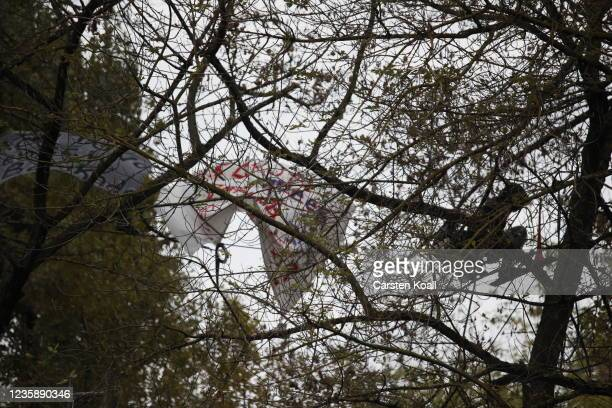 Activists climb the trees at the location of the left alternative site trailer Camp Kopi on October 15, 2021 in Berlin, Germany. The so-called...