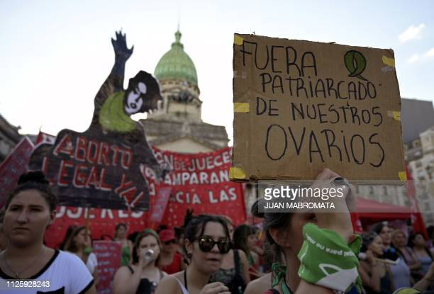 Activists demanding the legalization of legal safe and free abortion take part in a demonstration during the socalled 'Green Action Day for the Right...