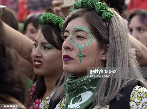 Activists demanding the legalization of legal safe and free abortion take part in a demonstration during the socalled Green Action Day for the Right...
