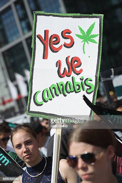 Activists demanding the legalization of marijuana prepare to march in the annual Hemp Parade on August 13 2016 in Berlin Germany German proponents of...