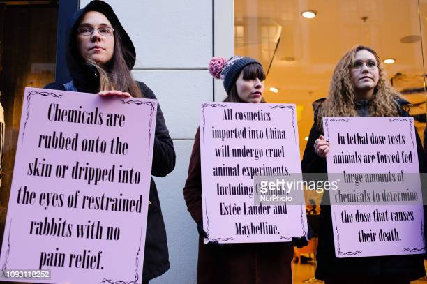 Activists demonstrate against animal testing in the cosmetics industry at a protest outside a branch of Benefit Cosmetics on Soho's Carnaby Street in...