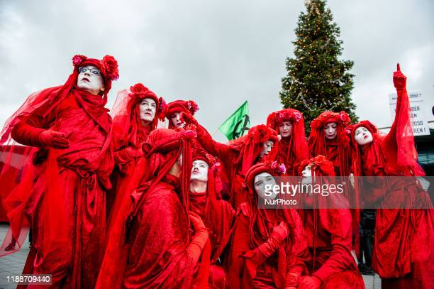 Activists demonstrate and camping around the airport to demand a climate plan from Schiphol in Amsterdam Netherlands on December 14 2019 Two stages...