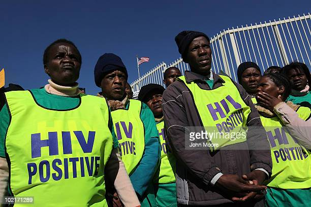 AIDS activists demonstrate in front of the American consulate on June 17 2010 in the Johannesburg suburb of Sandton South Africa More than a thousand...