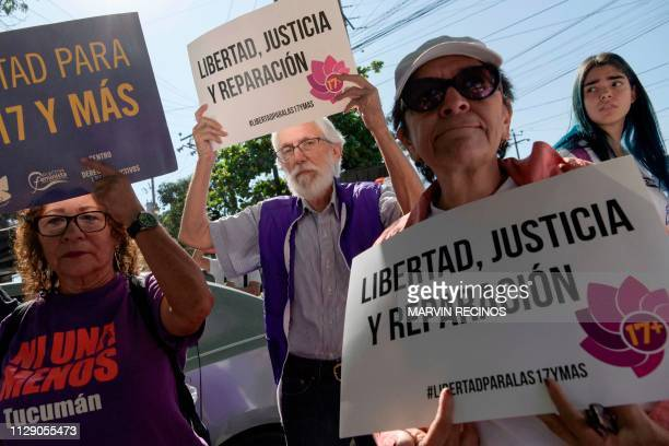 Activists demonstrate outside the Women's Rehabilitation centre in Ilopango El Salvador on March 7 2019 El Salvador's Supreme Court ordered the...