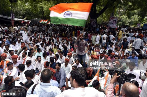 IYC activists during a protest march 'Bharat Bachao Andolan ' at Jantar Mantar on August 10 2017 in New Delhi India Supporters of the opposition...