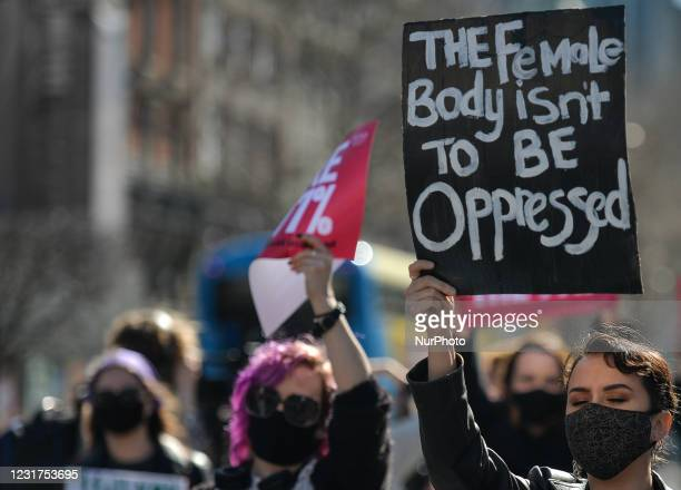 Activists during a solidarity protest with women in the UK against gender-based violence seen on O'Connell Street in Dublin. The tragic killing of...