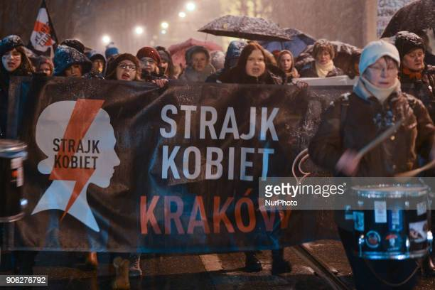 Activists during 'Black Wednesday' a nationwide Polish women protest on abortion On Wednesday January 17 in Krakow Poland